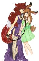 Fox-Bunny-With Color by JustMiri