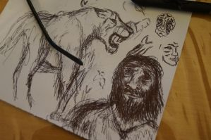 Neanderthal + unidentified felid doodle by AnonymousLlama428