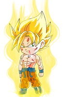 Chibi Goku turns SSJ by Vejit