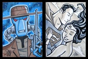 Sketch Cards Cad Bane, Superman and Wonder Woman by calslayton