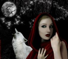 Red Riding Hood and White Wolf by engifashion