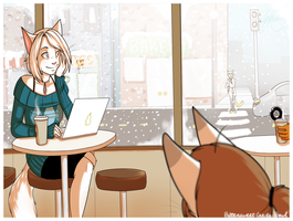 Cats Drinking Coffee by FattCat