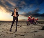The Biker Girl in the Desert by antonvandort