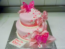 Pink girly cake by buttercreamfantasies
