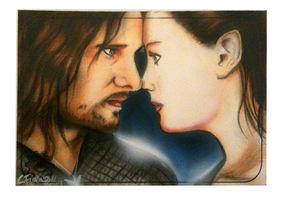 Lord of the Rings Arogon and Arwen psc sketch card by chrisfurguson