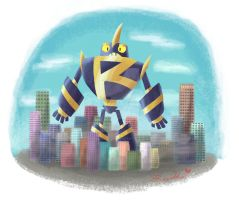 Robot in the little City by RockLobstar
