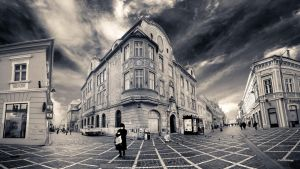 Brasov Streets and an Old Woman by PortraitOfaLife