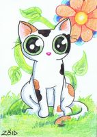 Funny calico cat ACEO by KingZoidLord