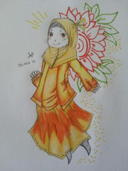 Muslimah and sunflower by natsumo