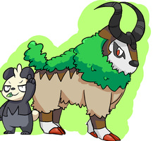 Pancham and Gogoat by MareckiRAWR