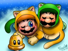 .::Mario and Luigi Cat Snuggle::. by Misskatt66
