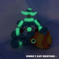 Polymer Clay Robot  I Love Fishes Glow Figurine by KIMMIESCLAYKREATIONS