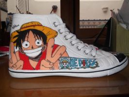 One Piece shoes: Luffy by mirimmd