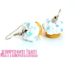 White Glitter Earrings by Metterschlingel