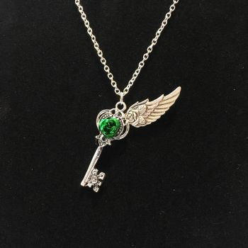 Winged Rose Key Necklace 04 by vampiric-nephilim