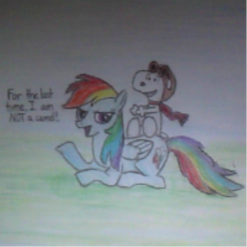 Snoopy and Rainbow Dash(Colored) by EnduringDoodler
