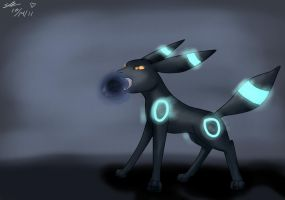Shiny Umbreon-Shadowball by Shinkou-san