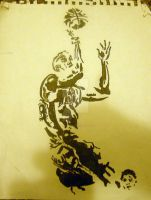 Positive only drawing of basketball player by XavierDiemert