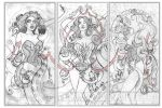 Ice Cream Cthulhu Triptych - Sketches by echo-x