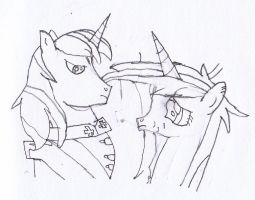 Shining Armor + Cadence Sketch by Flikaline