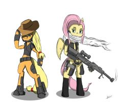 Cyber Applejack and Fluttershy by ConvoyKaiser