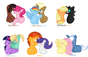 Mane 6 OTP's by KCandRES