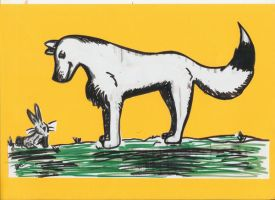 Whitw Wolf and Dinner Yellow by RouxWolf