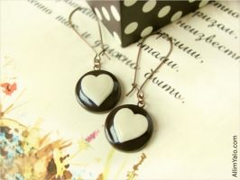 Chocolate hearts Earrings by allim-lip