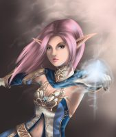 Elf mage in blue wolf by fantazyme