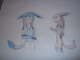 Glaceon x Sylveon (colored) by AxuuAxel88