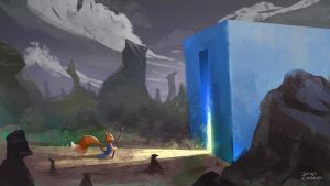 The blue box + Fox temple by diogocarneiro