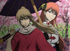 Sougo 'Hitokiri' Okita x Kagura (colored) by Izham-ZK9