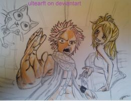 natsu lucy and happy my drawing process part 2 by FTerza