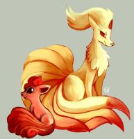 Day 15 - Vulpix and Ninetales by SpaceSmilodon