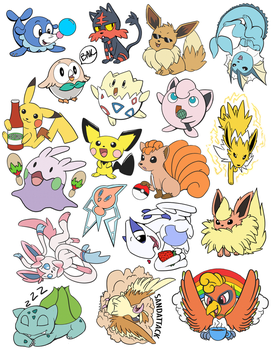 Pokemon Stickers by JovialNightz