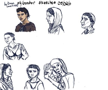Women of Gondor Sketch (with video) by falconcrow