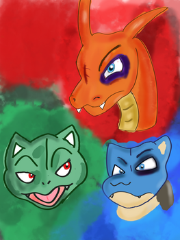 Pokemon Starters Doodle by Count-Toon