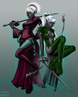 Drow Twins by Cyzra