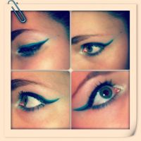 Makeup - Black and Teal Eyeliner by xxxKats-chancexxx