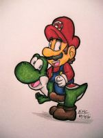 Mario and Yoshi by Alex-Wolfy