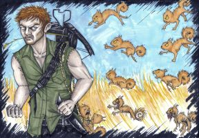 Daryl Dixon: The Squirrels Attack by cpn-blowfish