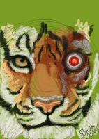 Spitpaint 010: Cyborg Tiger by selkie-gal