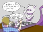 Mewtwo losing to my coursemate at chess by Jamie-B