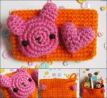 Kawaii bunny crochet amigurumi coin purse orange by hellohappycrafts