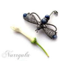 Silver Dragonfly brooch - Insect brooch by nurrgula