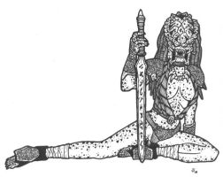 Pred Female with Sword by DementedInk