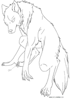 Anthro Wolf Lineart by Kibawolf33