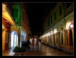In The Night... Street Of Corfu City - 1 by skarzynscy
