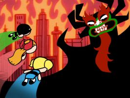 Powerpuff Girls vs. Aku by Bleu-Ninja