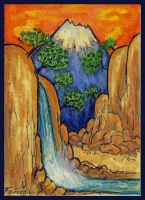 Golden Sunset II ATC by ATCs-By-Faeorain